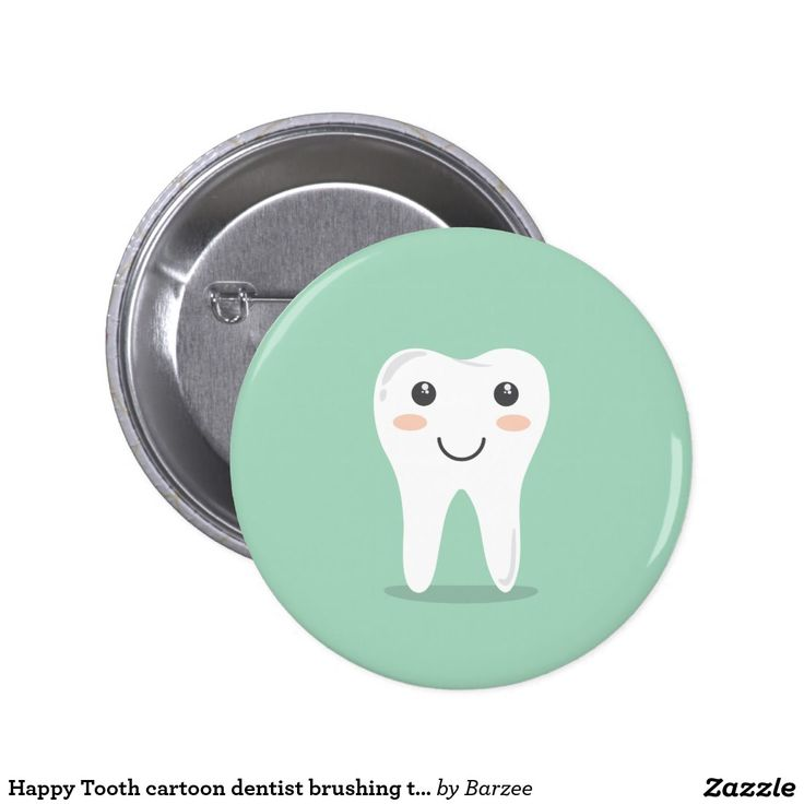 Happy Tooth cartoon dentist brushing toothbrush 2 Inch Round Button