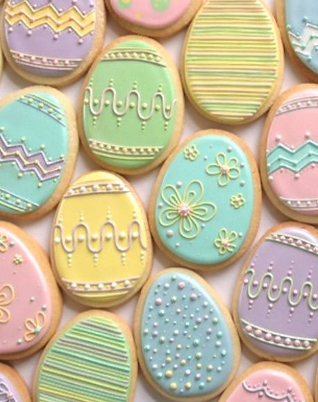 Nice pastel Easter egg cookies by Annalise Cakes.