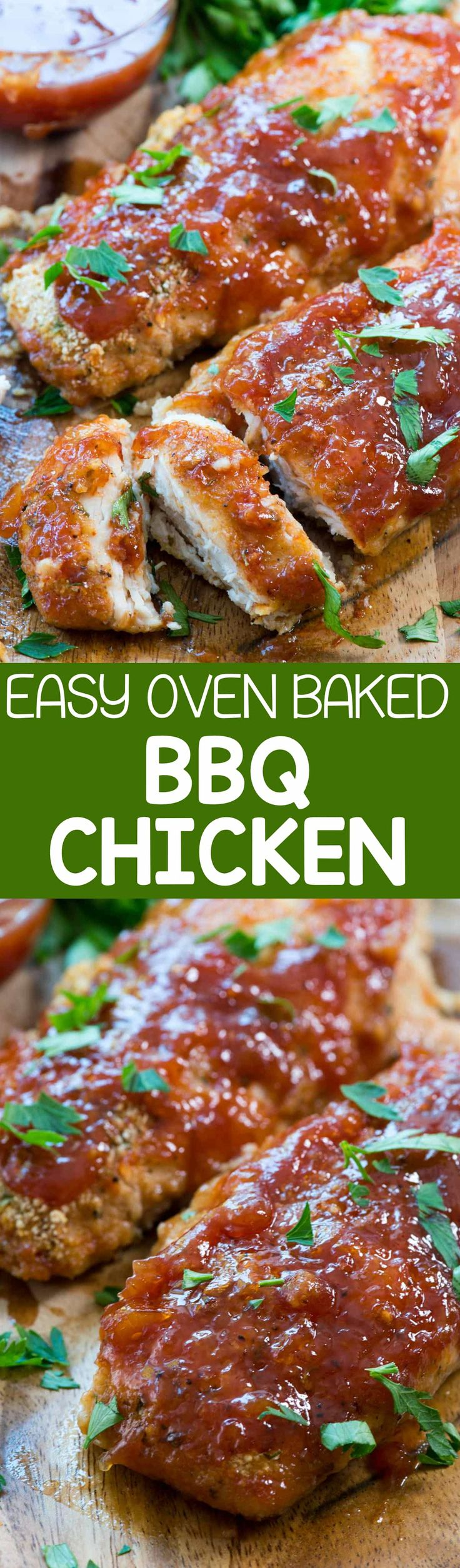Easy Oven Baked BBQ Chicken - this easy chicken recipe takes is FULL of BBQ sauce flavor and is made in the oven for a quick weeknight meal. The chicken always comes out perfect!
