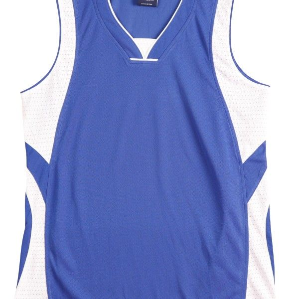 SD COOLDRY BASKETBALL SINGLET Printed with your team logo, names and numbers!  • CoolDry® Wicking Mesh • 160gsm – 100% Polyester • 100% CoolDry® Polyester Wicking Mesh. • Wicks moisture away from the body. • V-neck collar with centre patch that can be embroidered with logo. • Contrast colour front and back shoulder inserts and accent piping. • Double needle hemmed arm holes and bottom. • Matching shorts also available. Click here for more information
