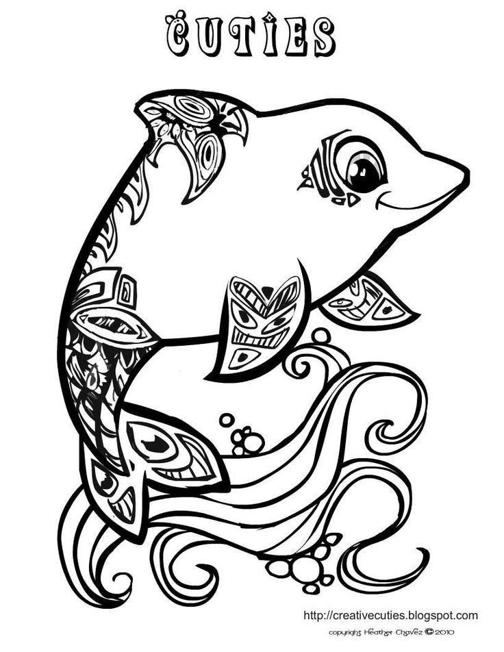 creative cuties dolphin coloring page