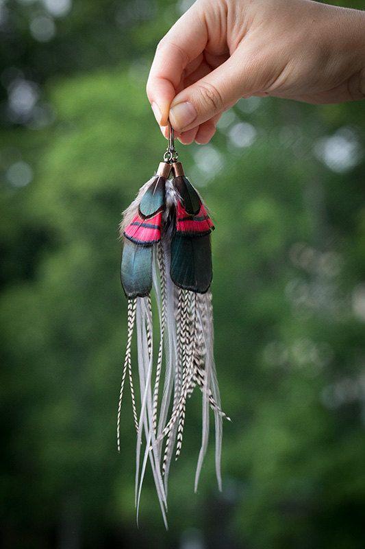 Boho chic feather earrings long earrings by NatureFeatherJewelry