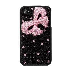 .:* L - Black sparkle iPhone case with pink bow!! [Your iPhone can't get any cuter than this! A pretty pink bow is featured against a black background on this all rhinestone-look girly girl iPhone 4 case.]