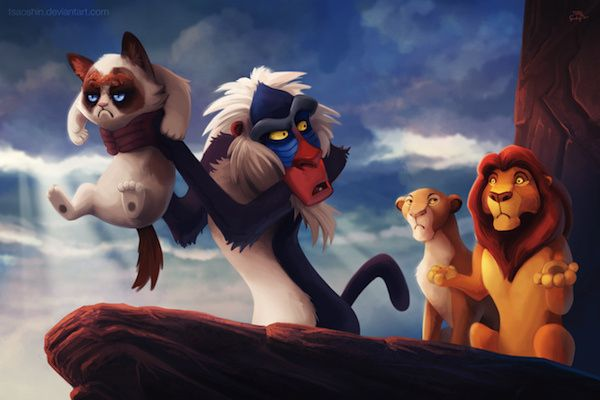 Grumpified disney movies. Mufasa looks confused, Sarabi's not happy. Where's Simba? #grumpycat #LionKing