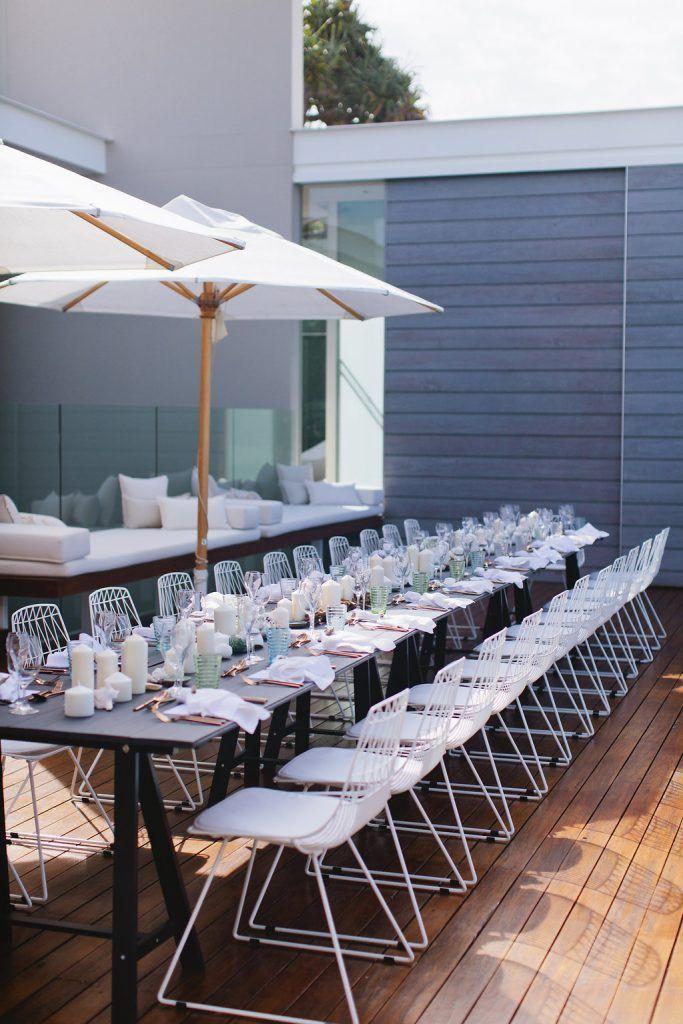White Contemporary Wire Chairs - Lovebird Weddings, Noosa Australia