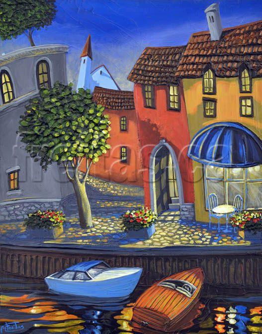 Riverside Cafe, art print by Freitas