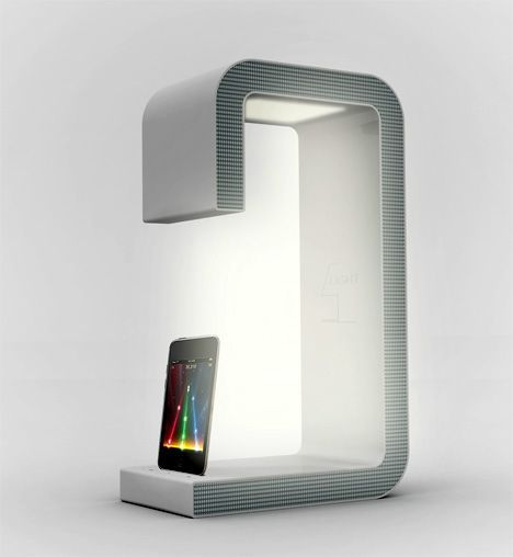 Sang Hoon Lee Bed Light Speaker Dock Charges Apple Device W/Speakers To Listen To Tunes & Bed Light To Read Book