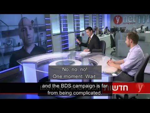 BDS activist Ronnie Barkan in an 'interview' on Israeli Ynet channel