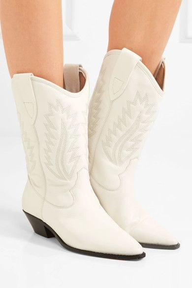 Isabel Marant - étoile Dallin Embroidered Leather Boots - White - FR38
