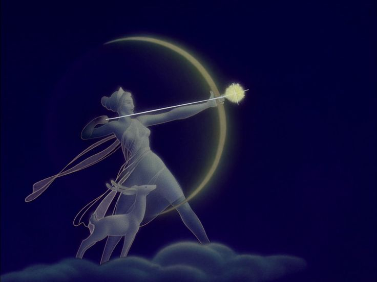 Diana/Artemis and new moon bow, creating the night sky.