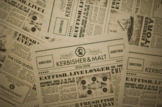 Newspaper with identity to wrap the fish. Great idea! Kerbisher & Malt Fish and Chips in Ealing, London. #Design and #interior by Alexander Waterworth Interiors.