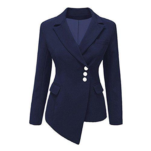 5cbe1c4549597e Femme Blazer à Manches Longues - Élégant Solide Couleur Slim Fit OL ...