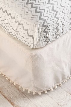 ball fringe bed skirt - Urban Outfitters...cute for guest room!