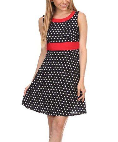 Look at this #zulilyfind! Navy & Red Polka Dot Empire-Waist Dress #zulilyfinds