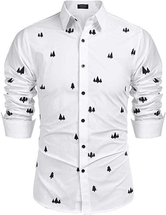 f500eca2d4d0 COOFANDY Men s Tree Printed Cotton Long Sleeve Casual Button Down Shirts  (White XXL) at