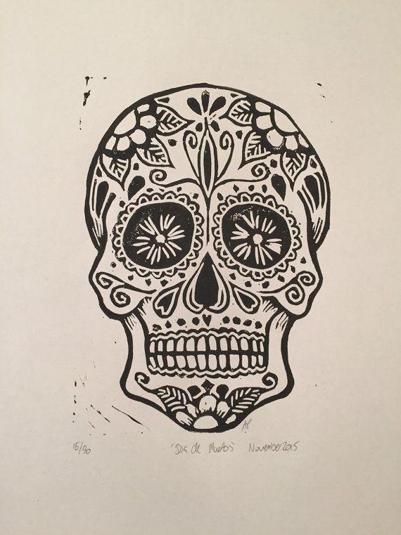 Dia de Muertos Sugar Skull Linocut Print Limited Edition