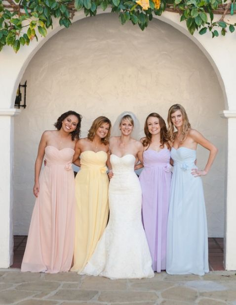 Mixed Pastel Bridesmaids Dresses Looks Like Pink Or Beach Yellow Orange