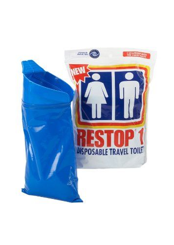 The Restop 1 four-pack contains 4 disposable urine bags. Each bag contains super absorbent polymers and enzymes that will absorb a full 22 ounces of urine. The wide opening with semi-rigid rim allows for easy use by men or women. The one-way valve prevents spillage should the used bag be accidentally dropped. Restop contains the odor as well as the waste. $19.99  4 bags