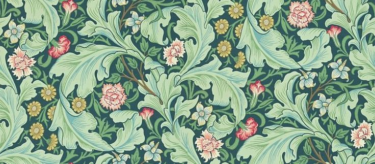 Leicester (212541) - Morris Wallpapers - A large scale1912 design, featuring scrolling acanthus leaves with an underlay of smaller flowers and foliage. Shown in the rich green with multicoloured flowers colourway.  Please request sample for true colour match.