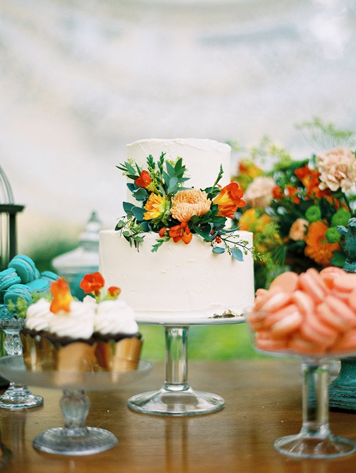simple cake with florals