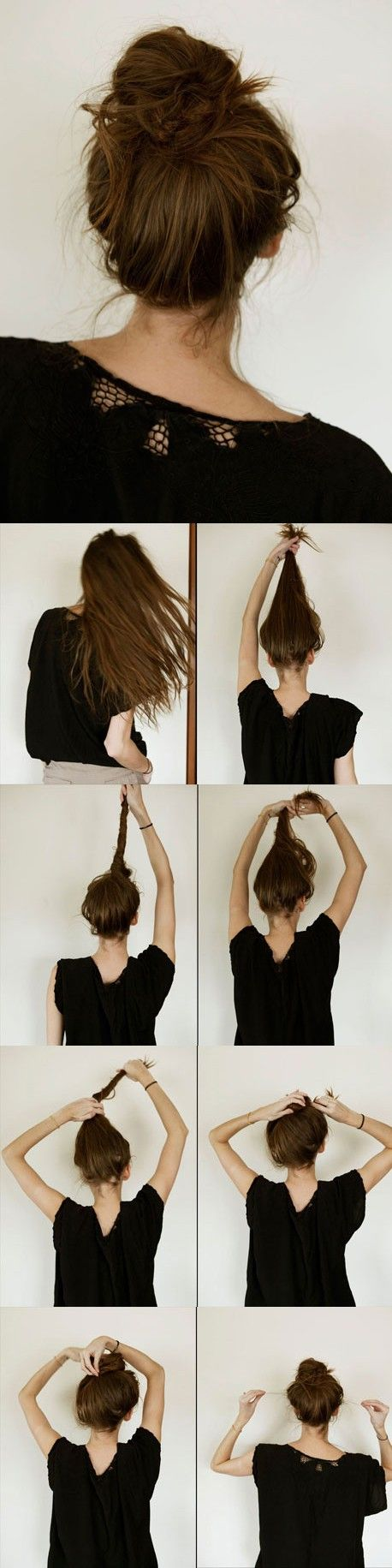Messy bun for long hair. I've needed this, but... I'm a little confused at those last few steps...