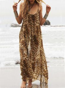 Leopard Spaghetti Strap Backless Maxi Dress