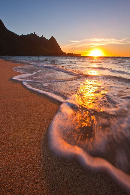 Lovely sunset, Tunnels Beach, Kauai, Hawaii