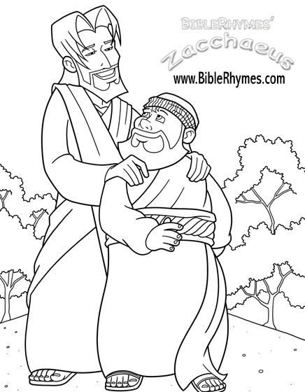 these pictures are from the biblerhymes zacchaeus coloring book in black and white for people to print and color color in this bible story and have fun - Jesus Zacchaeus Coloring Page