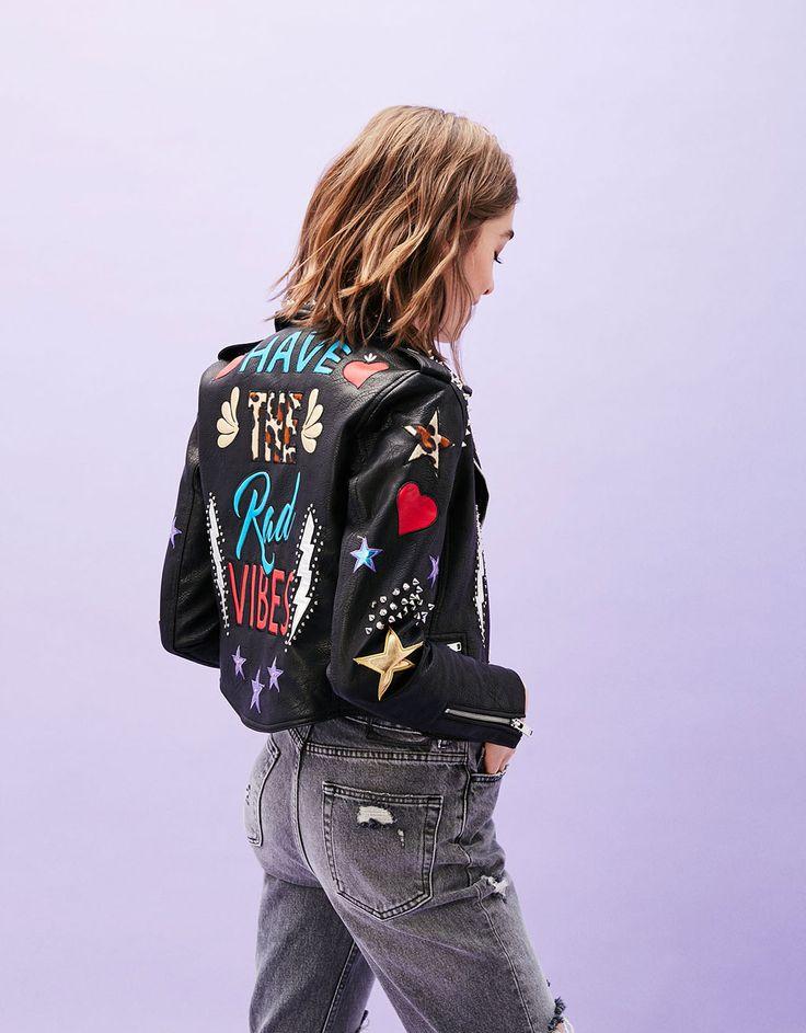 Faux leather biker jacket with back text - Coats & Jackets - Bershka Serbia