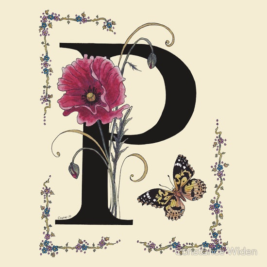 """""""P is for a Pink Poppy and a Painted Lady Butterfly""""   Constance Widen 