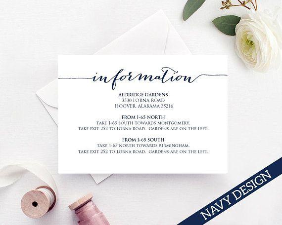 Information Card Information Card For Wedding Information Etsy Wedding Invitation Inserts Wedding Info Card Wedding Invitation Details Card