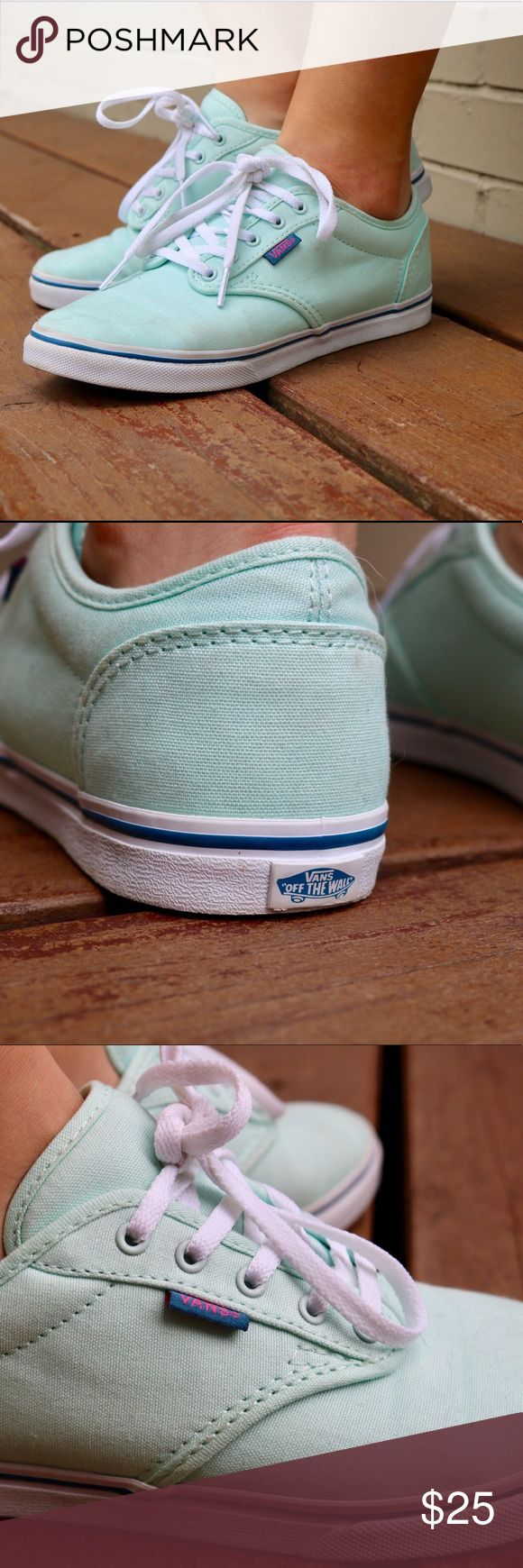 Mint vans Teal vans with white laces, white polkadots on dark blue inside, and white on the bottom with a blue stripe.                                                            ⭐️Great condition, never worn.                                  🚫no trades Vans Shoes Sneakers