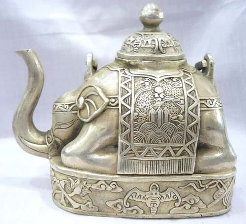 Collectibles cultures predominant tibet silver elephant figure teapot on - Elephant shaped teapot ...
