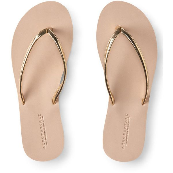 Aeropostale Metallic Strap Flip-Flop ($10) ❤ liked on Polyvore featuring shoes, sandals, flip flops, tumbleweed, sports footwear, metallic sandals, metallic flip flops, metallic shoes and sport shoes