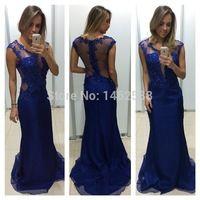 muhteşem dantel Aplikler kraliyet mavi elbise uzun gelinlik 2015 kadın resmi akşam önlük