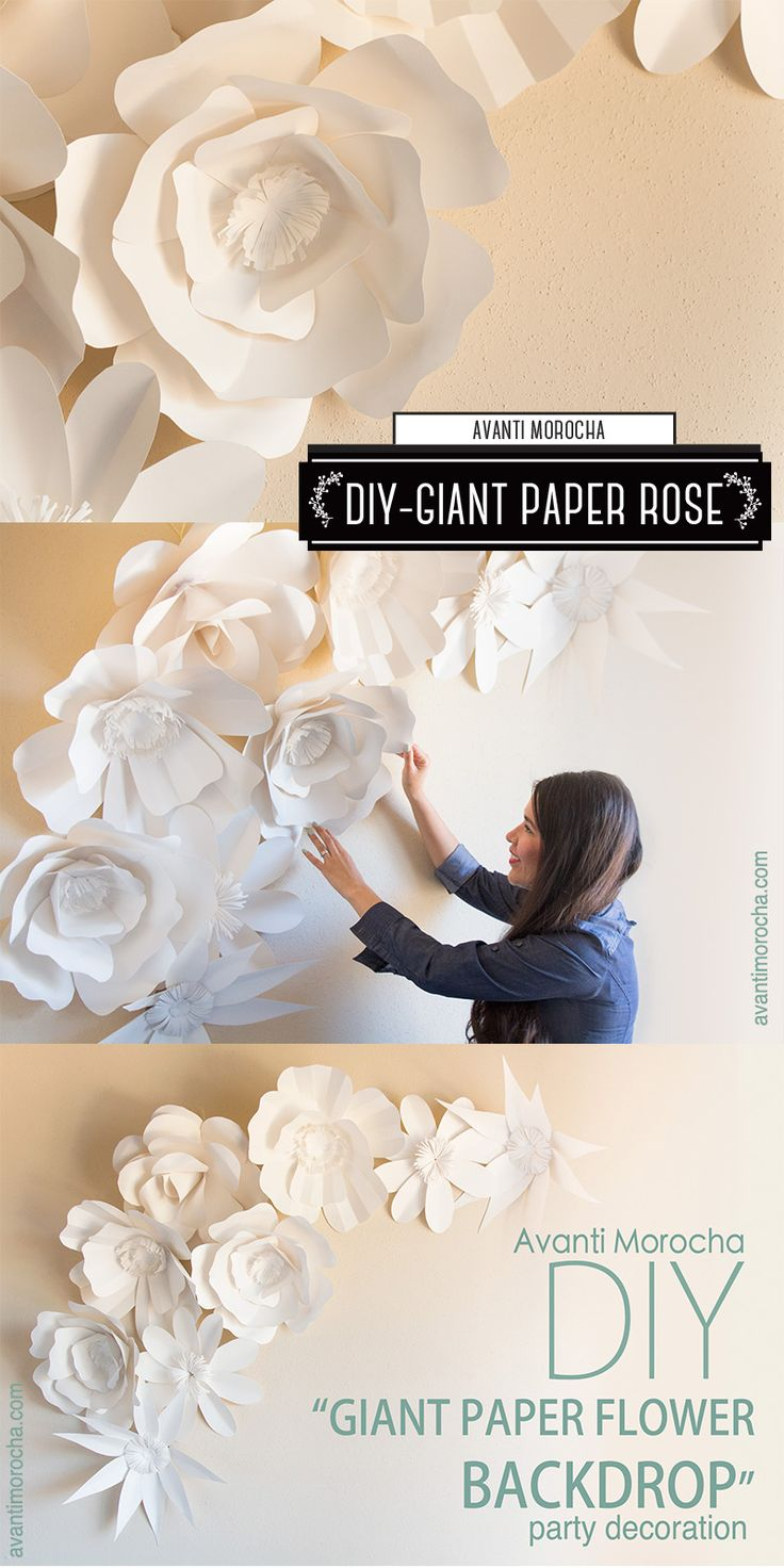 "DIY ""How to Make a Giant Paper Flower Backdrop"" Rose / Rosa - Weddings, event decor"