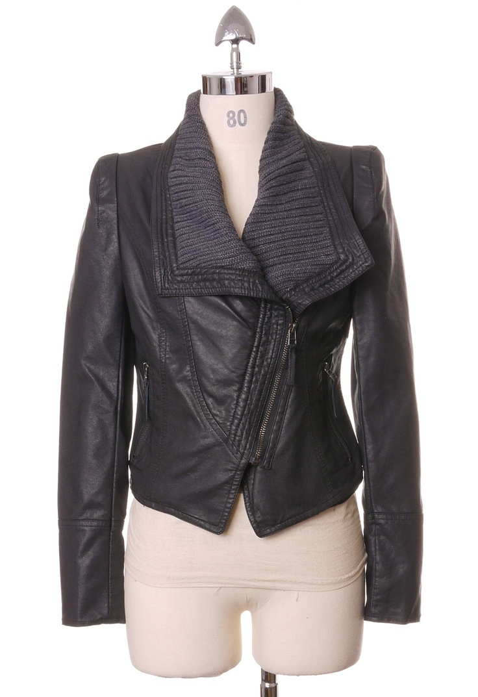 Leather jacket hoi an - Faux Leather Biker Jakcet In Black By Chic