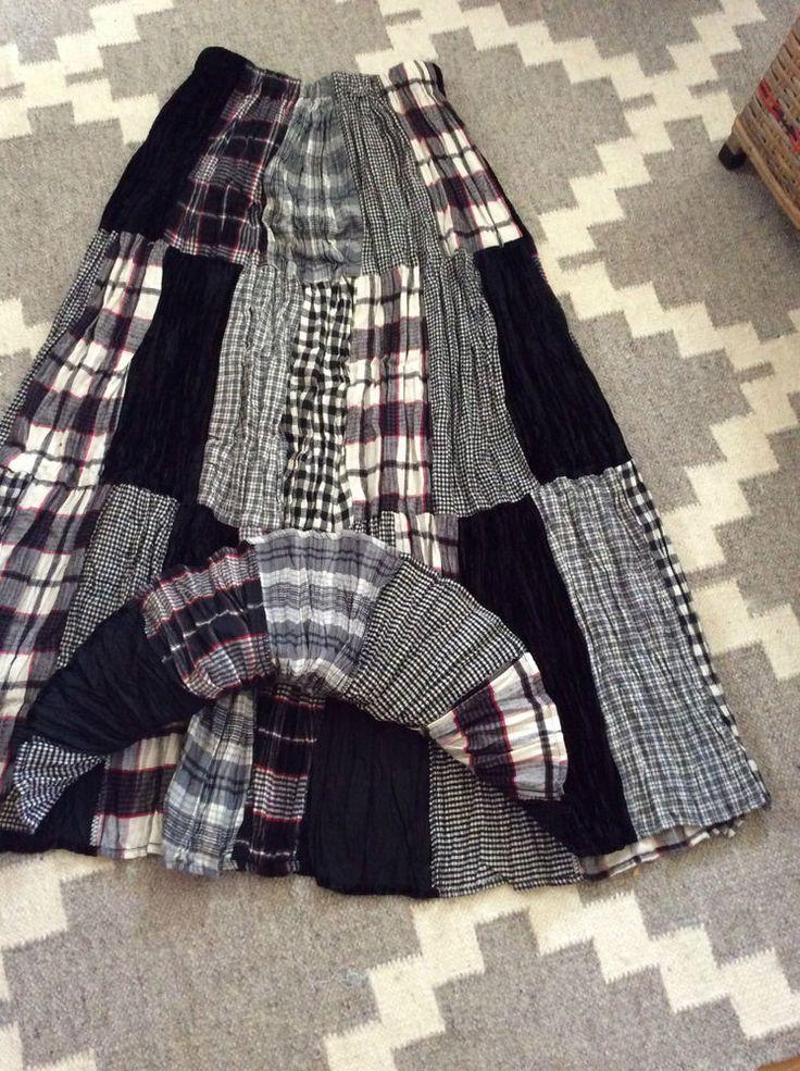 "SZ SM Lucia Lukken Broomstick Skirt Patchwork Plaids and Velvet 36"" Long #LuciaLukken #Maxibroomstick"