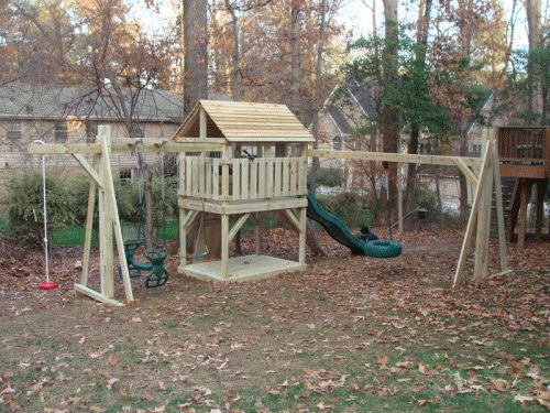 Custom Backyard Play Structures :  Playsets on Pinterest  Cedar Swing Sets, Swing Sets and Play Sets