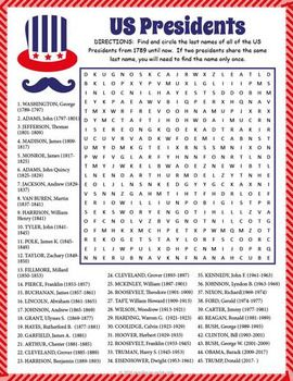 Everyone is going to love looking for the names of all of the U.S. Presidents in this giant word search puzzle activity.   We've included all of the Presidents from Washington to the newly elected Trump so there is plenty to keep everyone busy for a while.