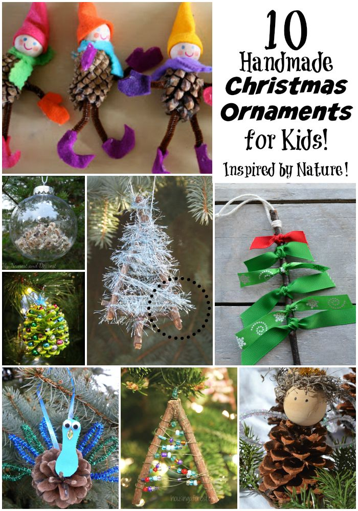 10 Homemade Christmas Ornaments for Kids to Make: Inspired by Nature! Easy Ornament Christmas Craft for Kids using Twigs and Pinecones || Letters from Santa Holiday Blog!