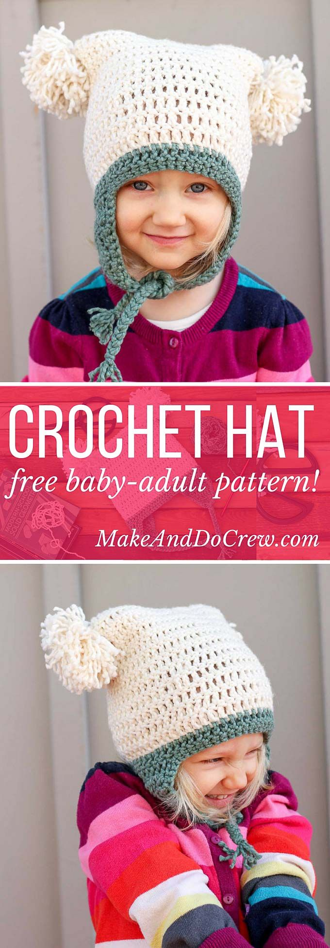 This free crochet beanie pattern is perfect for beginners because the skills involved aren't much harder than making a scarf. Free pom pom hat pattern in sizes baby (newborn), 3-6 months, 6-12 months, toddler/preschooler, child, teen/adult. | MakeAndDoCrew.com ༺✿Teresa Restegui http://www.pinterest.com/teretegui/✿༻