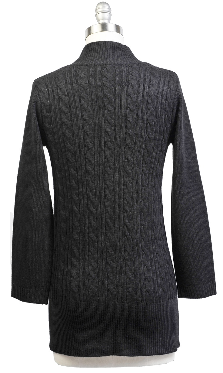 SW01 Mock Neck Cable Sweater  Color: heather gray & black