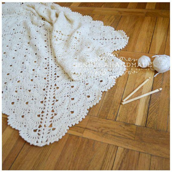Cream crochet baby blanket LARGE  newborn by GerberaHandmade