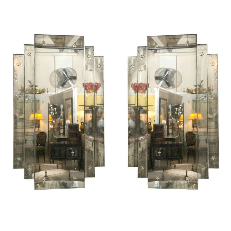 Pair of 'City Scape' Hollywood Regency Style Mirrors | From a unique collection of antique and modern wall mirrors at https://www.1stdibs.com/furniture/mirrors/wall-mirrors/