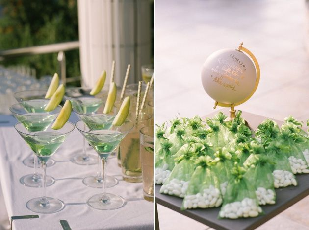 Fancy an emerald green cocktail to match your garden theme wedding with traditional Greek favours in emerald tulle. Photos by Adrian Wood