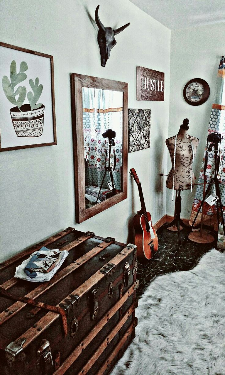 Boho chic home office space