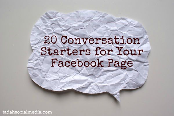20 conversation starters for Facebook: Conversation Engagementfactor, Starters Socialmedia, Facebook Socialmedia, Socialmedia Facebook, Tips, Bloggy Websitey Stuff, Engagementfactor Facebook