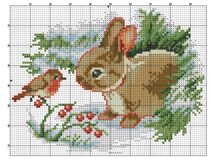 The Bird Amp The Bunny Cross Stitch Winter Animals