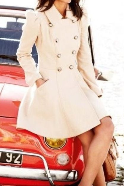 Perfect cream Peacoat! I would love this with my brown knee high boots!